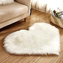 RISTHY Alfombras de área de Piel de Oveja de Imitación Suave en Forma de Corazón para Felpa de Piso de Sofá Casero 30x40cm