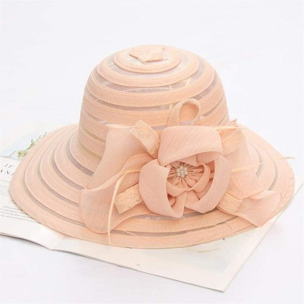 MAIZ Sun Hats Women's Organza Church Kentucky Derby Fascinator Bridal Tea Party Wedding Hat Lady Church Hats Women Ruffles Wedding Hat,6 Colors (Color : Pink)