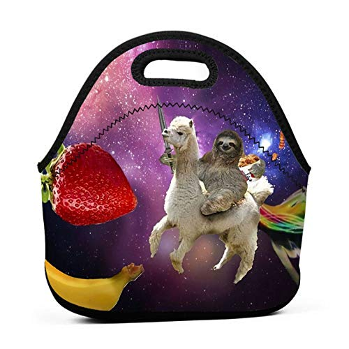 Neoprene Lunch Bag Funny Sloth Riding Llama Reusable Insulated Thermal Lunch Tote Small Lunch Box Carry Case Handbags Container with Zipper for Adults Kids Nurse Teacher Work Outdoor Travel Picnic