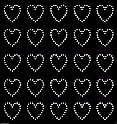 30Strass-Herzen zum Aufbügeln mit Transferfolie, glitzernd farblos