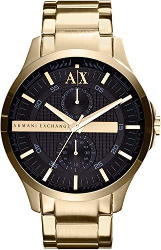 Armani Exchange AX2122del Hombre Oro Reloj de Cuarzo con Esfera Negra de Acero Inoxidable