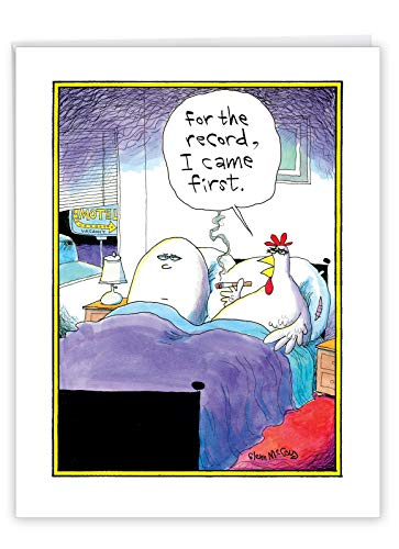 Big Funny Birthday Card - 'I Came First' Featuring Hilarious Chicken and Egg in Bed Joke With Envelope 8.5 x 11 Inch - XL Happy Birthday Greetings Card - Adult Humor J4753BDG