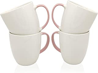 Ceramic White Coffee Mug Set, 14 Oz Pink Handle White Tea Mugs, Can Be Used for Hot and Cold Beverages, Cho...