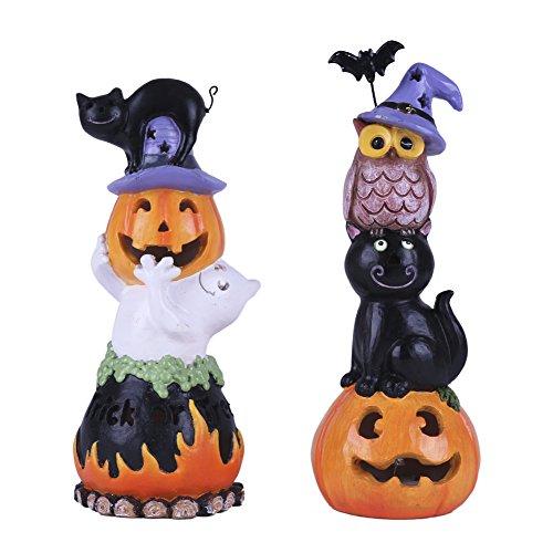 VALERY MADELYN Adornos Decoraciones de Halloween, 2Pcs LED Figurilla Estatua de Gato Búho Fantasma y Calabaza, Regalo de Juguete de Halloween de Miedo, Fiesta de Feliz Halloween Trick or Treat
