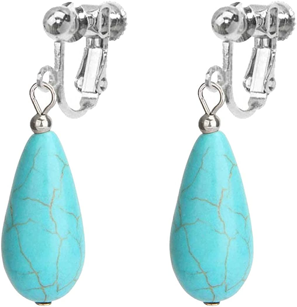 Turquoise Dangle Clip on Non Pierced Earrings for Women Girls Gifts Jewelry Vintage Texture Beaded Drop Bohemian Ethnic Style Personalized Teardrop Oval Shape Pendant