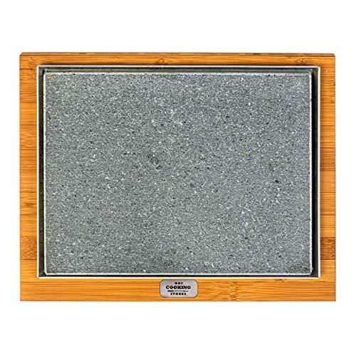 Placa de piedra volcánica Basic, 20 x 25 cm, apta para cocinar directamente a la mesa.