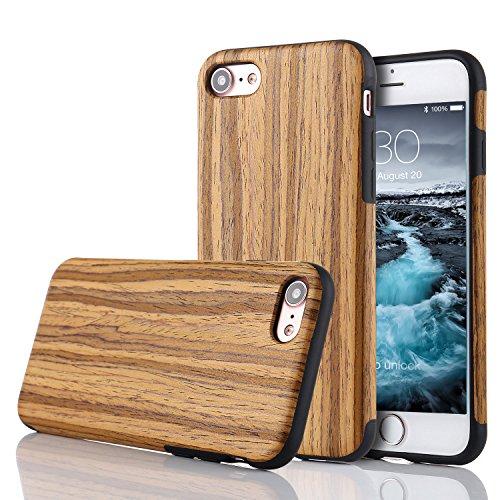 LCHULLE Kompatibel mit iPhone 5/5S/SE(4.0 Zoll) Hülle Holz Schutzhülle TPU Handyhülle Premium Handmade [Holzig Rückschal] Silikon Case Back Cover Schutzhülle Teakholz