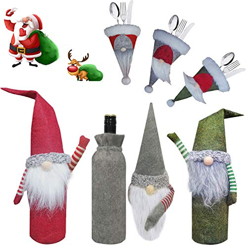 XIRGS Christmas Gnomes Wine Bottle Cover and Cutlery Organizers 6 Pack, Handmade Knife and Fork Cover, Wine Bottle Toppers Santa Claus Wine Bag with Drawstring, Christmas Decoration Holiday