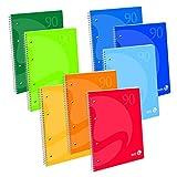 BM BeMore Blocco Spiralato Maxi Color 60 Fg, 0105348, Blocco Spiralato con Fori Formato A4, Rigatura 4 mm, Quadretti 4 mm, Carta 90 g/mq, Colori Assortiti, Confezione 5 pezzi