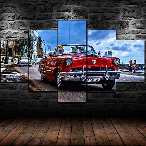 HGFJHGJ 5 Pieces Wall Art Painting On Canvas Decor Havana Cuba Car Poster Paintings Canvas HD Prints Pictures Wall Art Home Decorative Poster Modern Artwork