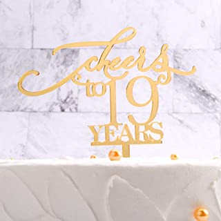 Cheers to 19 Years Cake Topper for Celebration 19th Birthday,Gold 19th Cake Topper, 19th Birthday Party Decorations