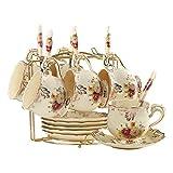 YOLIFE Juego de tazas de té y platillos de arbustos florecientes, juego de 6 tazas de té de cerámica marfil con estante de metal dorado