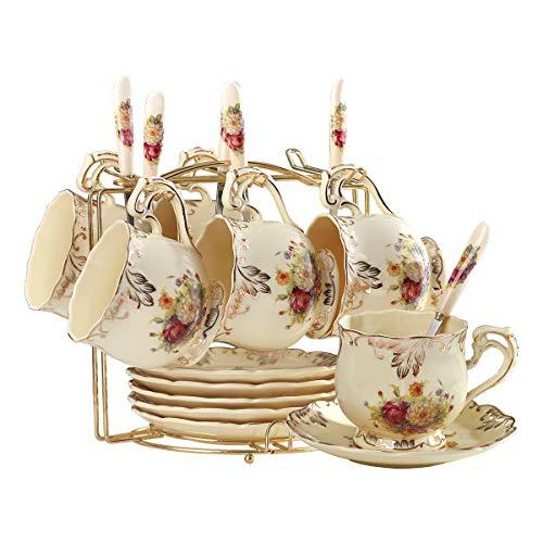 YOLIFE - Juego de tazas de té y platillos con arbustos florecientes, juego de tazas de té de cerámica marfil, paquete de 6 con estante de metal dorado