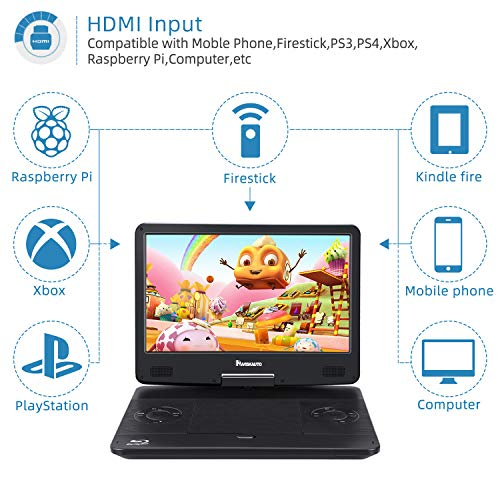 14 Inch Portable Blu-Ray DVD Player for Car Full HD 1080P with HDMI Output and Input, Dolby Audio, 3-Hour Rechargeable Battery, AUX Cable, Support USB and SD
