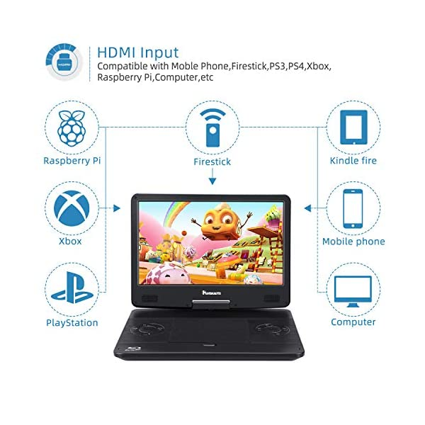 Portable Blu-Ray DVD Player with Built-in Rechargeable Battery, AUX Cable, Supports 1080P MP4 Video, HDMI Input/Output, Dolby Audio 4
