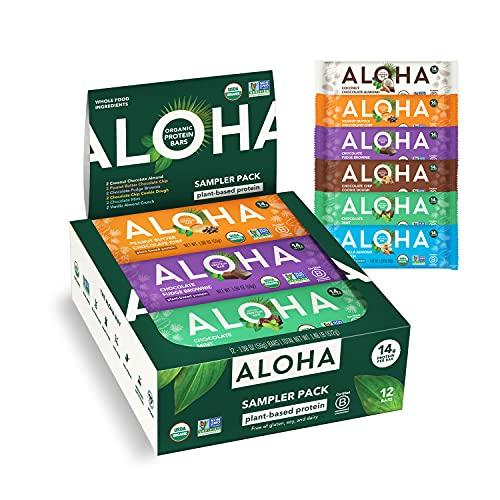 ALOHA Organic Plant Based Protein Bars - 6 Flavor Variety Pack - 12 Count, 1.9oz Bars - Vegan Snacks, Low Sugar, Gluten-Free, Low Carb, Paleo, Non-GMO, Stevia-Free, No Sugar Alcohols