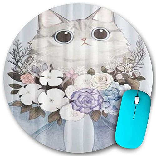 Round Mouse pad Non-Slip Rubber,Cute Cat Garland Bowknot Floral Flowers,Waterproof Durable Mouse Mat Office Desktops Personality 7.9'x7.9'