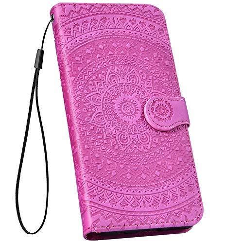Ysimee kompatibel mit Huawei P9 Lite Hülle 3D Bookstyle PU Leder Schutzhülle Wallet Flip Ledertasche Case Handyhülle Lederhülle Handy Tasche Schale [Standfunktion] [Kartenfach], Mandala Lila rot
