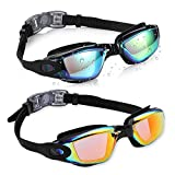 Aegend 2 Pack Swim Goggles, Swimming Goggles No Leaking Anti Fog UV Protection Crystal Clear Vision Triathlon Swim Goggles with Free Protection Case for Adult Men Women Youth Teens, 10 Choices
