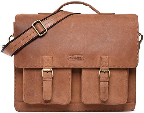 LEABAGS Arbeitstasche/Aktentasche/Lehrertasche/Dokumententasche aus echtem Leder - Vintage -Miami- Brown