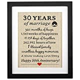 Corfara Framed 30th Anniversary Pearl Burlap Gift 11' W X 13' H, 30th Wedding Anniversary Gifts for Couples, 30 Year Anniversary Gifts for Wife, Husband, 30th Anniversary Decorations Gift
