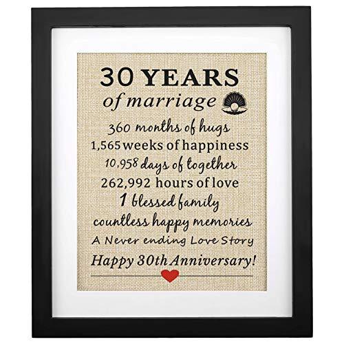 Corfara Framed 30th Anniversary Pearl Burlap Gift 11' W X 13' H, 30th...