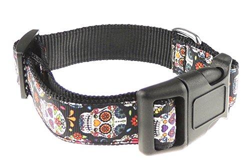 Glamour Girlz Funky Schwarz Retro Regenbogen Farbe Inca Maya Style Schädel Nylon Hundehalsband XL