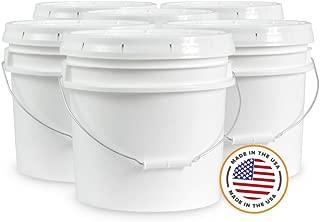 Ropak USA 3.5 gallon Food Grade White Plastic Bucket with Handle & Lid - Set of 6
