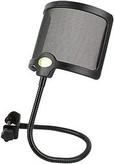 マイクポップガード ポップブロッカー マイクフィルタ D.B.J 録音ノイズ防止 U型 金属ネット層 ウインドスクリーン 宅録 動画投稿 演奏録音 360°グースネッククリップ安定化アーム付き (ブラック)