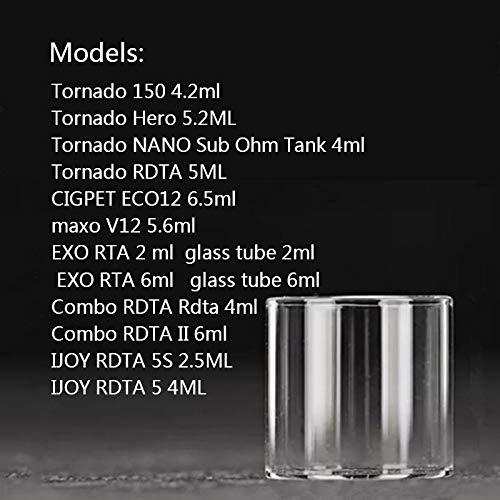Denghui-ec, 5 STÜCKE Ersatzglas Tank Für Tornado 150 / Tornado Held/Tornado Nano Unter Ohm Tank/Tornado RDTA/CIGPET ECO12 / maxo V12, Frei von Tabak und Nikotin (Color : Tornado Nano 4ml)