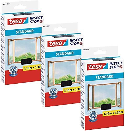 tesa Insect Stop Standard Fliegengitter für Fenster - Insektenschutz zuschneidbar - Mückenschutz ohne Bohren - 3 x Fliegen Netz anthrazit - 110 cm x 130 cm