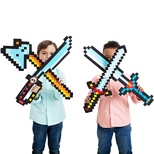 Boley 8-Bit Pixel Diamond Foam Sword Set - 24'' 4 Pack Weapons - Perfect Party Set & Party Favor - Offers...