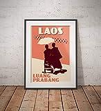 AZSTEEL Vintage Poster Laos Luang Prabang Monks | Poster No