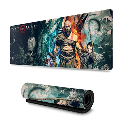 God of War Custom Gaming Mouse Pad Anime Mouse Mat Desk Pad 11.8x31.4x0.12inch for Game Players, Office, Study