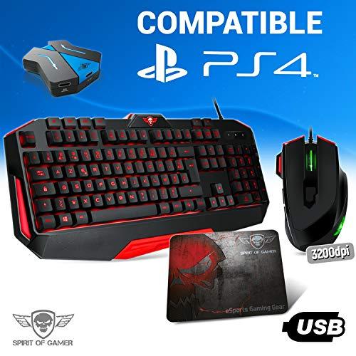 Pro MK3 toetsenbord, muis en muismat voor PS4 – converter inclusief, achtergrondverlichting