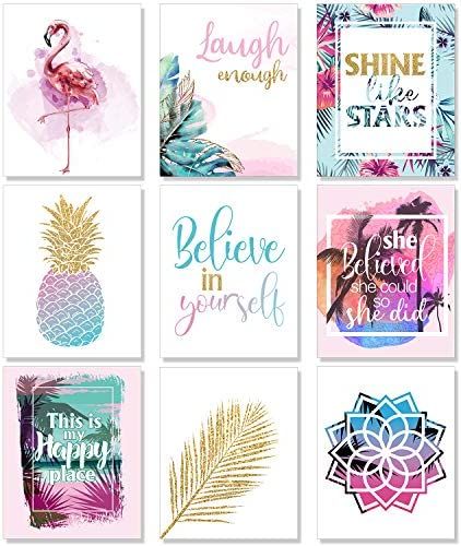 Outus Set of 9 Teen Girl Room Wall Art Inspirational Prints Pineapple Leaf Motivational Phrases product image