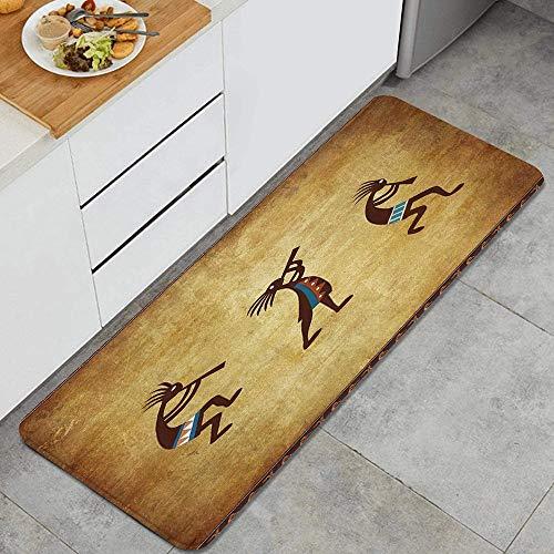 Southwestern Southwest Native American Kokopelli Ethnic Pattern Anti Fatigue Kitchen Mat Comfort Floor Mats Non-Slip Oil Stain Resistant Easy to Clean Kitchen Rug
