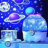 Iriisy Lampara Proyector Estrellas Infantil, Luz Nocturna Infantil, LED Pantalla Lámpara con 12 Modos Lampara Dormir, Con Música, Luces de la música para Navidad, Cumpleaños