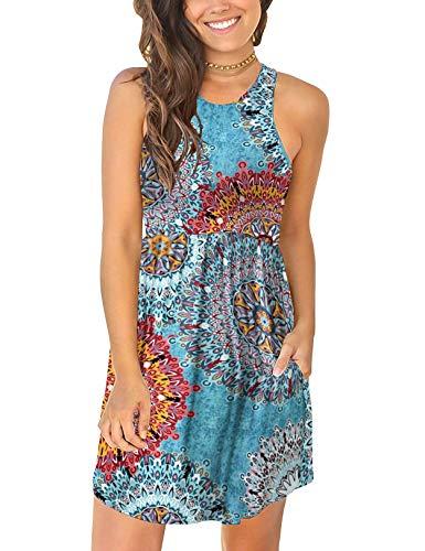 CHERFLY Damen Sommerkleid Casual Kurzes Freizeitkleid Armlos Tank-Kleid mit Taschen (Floral Mix Blau,S)