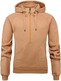 eipogp Quater Zip Hoodie for Men, Mock Neck Heavyweight Pullover Warmly Sweatshirt Solid Ribbed Cuffs Hem Fleece with Pocket