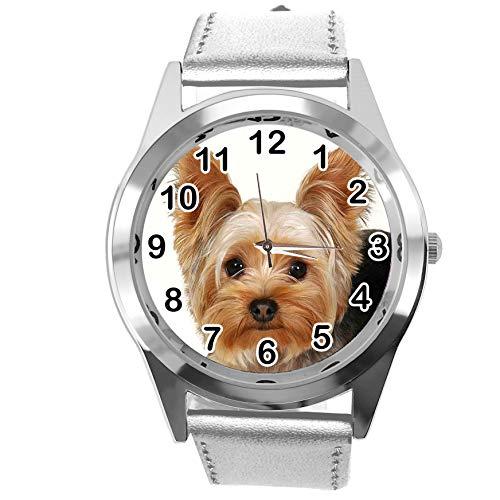 Reloj analógico de Cuarzo con Correa de Piel auténtica de Color Plateado para los Fans de York Terrier de TAPORT®