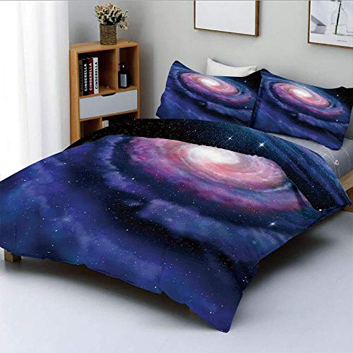 Duvet Cover Set,Nebula in Outer Space Spiral Stardust Mist Cloud of Dust Planetarium Astronomy Art Decorative 3 Piece Bedding Set with 2 Pillow Sham,Mauve Blue,Best Gift For Kid
