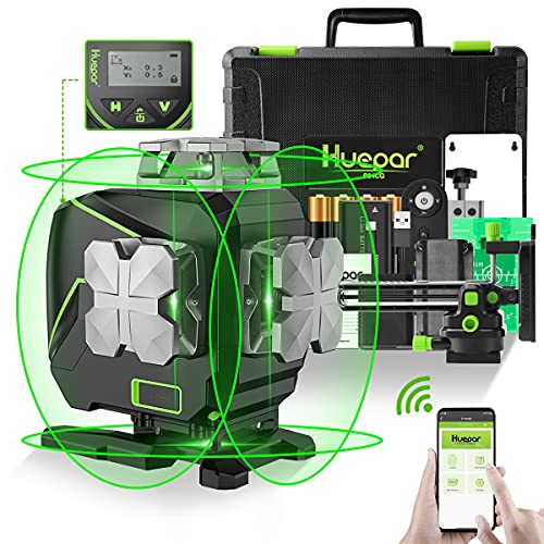 Huepar 16 Lines Bluetooth Laser Level, 4 x 360°Cross Line Laser with LCD Screen, Green Beam Tiling Floor Laser Tool, 360°Horizontal/Vertical Laser -Remote Control&Hard Carry Case S04CG