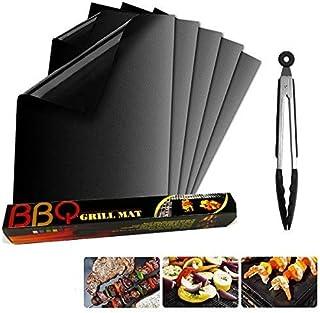 Lambony Tapis de Cuisson barbecue et clip, Set de 5 apis Barbecue 40x33 CM BBQ Mat Antiadhésif, réutilisable, pour Les Bar...
