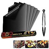 Lambony Tapis de Cuisson barbecue et clip, Set de 5 apis Barbecue 40x33 CM BBQ Mat Antiadhésif, réutilisable, pour Les Barbecue à Gaz, Charbons ou Électriques