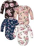 Sibinulo Niño Niña Body Bebé Manga Larga Pijama Bebé de Algodón, 9-12 Meses, Pack de 4 Rosas Blancas, Azul Marino, Galleta, Marrón