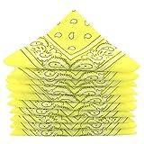Lot de bandanas 100% Coton paisley foulard fichu - Jaune - Lot de 10 identiques