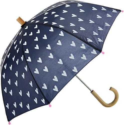 Hatley Mädchen Printed Umbrella Regenschirm, Marineblau und weißes Herz, One Size