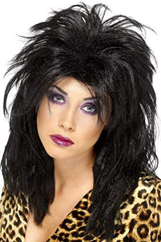 Smiffys Peluca de estrella del pop de los 80, negro, larga despeinada corte mullet