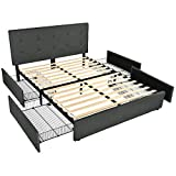 Amolife Fabric Upholstered Button Tufted Queen Bed Frame with 4 Drawers and Headboard/Platform Bed Frame Adjustable Headboard and Wood Slat Support/Mattress Foundation with Storage,Dark Grey